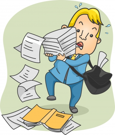 Illustration of an Office Guy Struggling with Carrying a Large Stack of Paper illustration