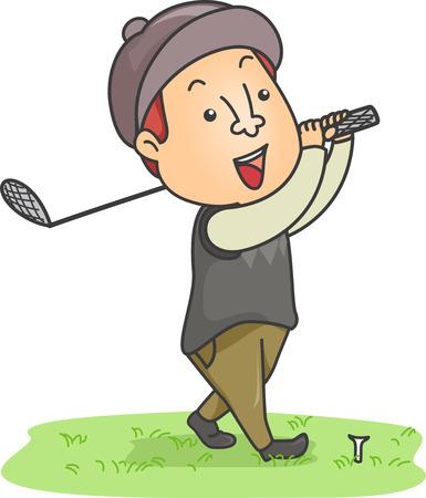 Illustration of a Man Dressed in Golfing Gear Swinging a Golf Club