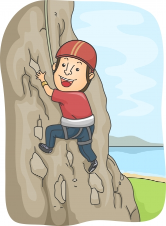 climbing gear: Illustration of a Man Dressed in Climbing Gear Scaling a Rocky Mountain