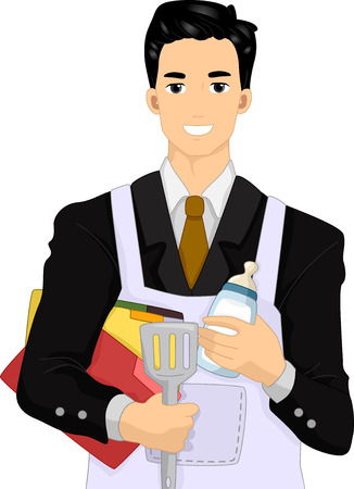 single parent: Illustration of a Man Dressed in a Suit Wearing an Apron and Preparing to Do Some Housework Stock Photo