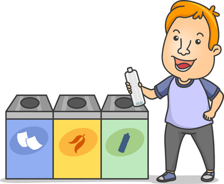 biodegradable: Illustration of a Man Holding a Water Bottle Standing Beside Waste Segregation Bins Stock Photo
