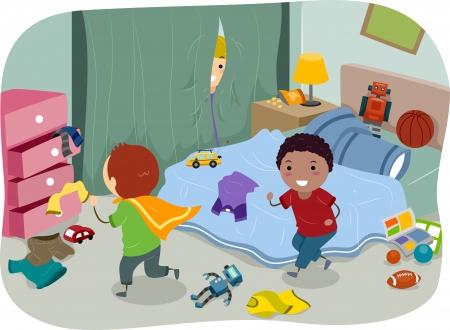 habitacion desordenada: Ilustraci�n de un par de ni�os jugando en la habitaci�n de un ni�o t�pico