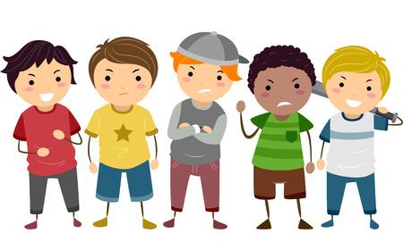 bonhomme allumette: Stickman Illustration Dot� d'un groupe de jeunes intimidateurs de sexe masculin