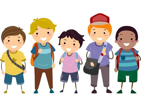 escuela caricatura: Ilustración con un grupo de niños con diferentes edades