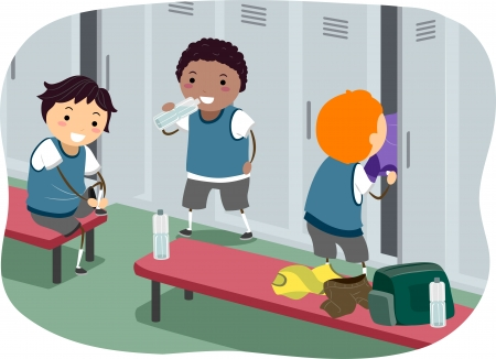 locker: Stickman Illustration Featuring Boys Hanging Out in the Locker Room Stock Photo