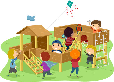 playhouse: Stickman Illustration Featuring Boys Playing in a Wooden Playhouse Stock Photo