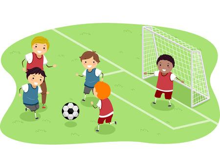 bonhomme allumette: Stickman Illustration Doté d'un groupe de garçons jouant au football