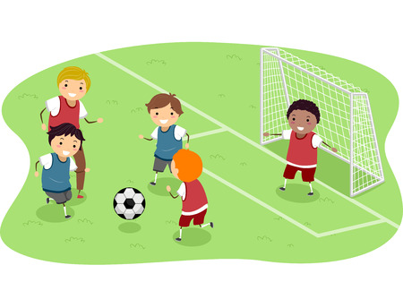 kids football: Stickman Illustration Featuring a Group of Boys Playing Soccer Stock Photo