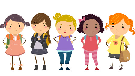 cartoon school girl: Stickman Illustration Featuring a Group of Young Female Bullies Stock Photo