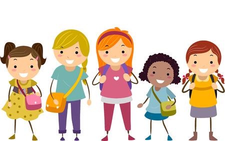 bonhomme allumette: Illustration avec un groupe de filles avec diff�rents �ges