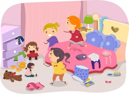 habitacion desordenada: Ilustraci�n de las ni�as jugando en la habitaci�n de una chica t�pica de