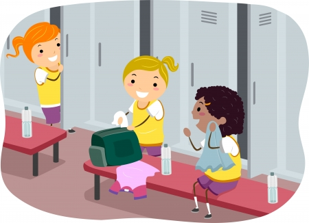 changing room: Stickman Illustration Featuring Girls Hanging Out in the Locker Room Stock Photo