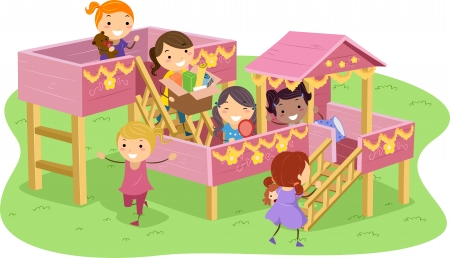 playhouse: Stickman Illustration Featuring Girls Playing in a Playhouse