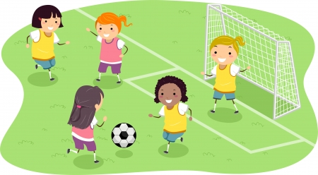 featuring: Stickman Illustration Featuring a Group of Girls Playing Soccer Stock Photo