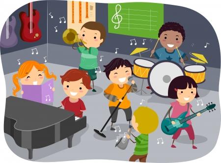 bonhomme allumette: Stickman Illustration avec Enfants jouant avec diff�rents instruments de musique dans une salle de musique