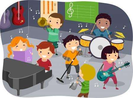 musicality: Stickman Illustration Featuring Kids Playing with Different Musical Instruments in a Music Room
