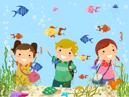 field trip: Stickman Illustration Featuring Kids on a Trip to the Aquarium Stock Photo