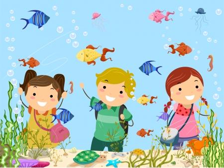 Stickman Illustration, Kinder auf eine Reise in die Aquarium Standard-Bild