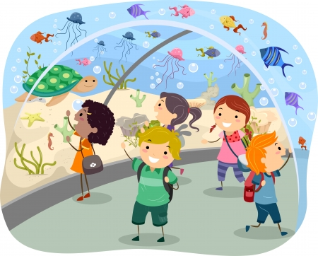 Stickman Illustration Featuring Excited Kids on a Trip to the Aquarium