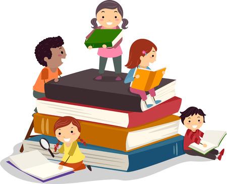 schooler: Stickman Illustrazione con bambini la lettura di libri Archivio Fotografico