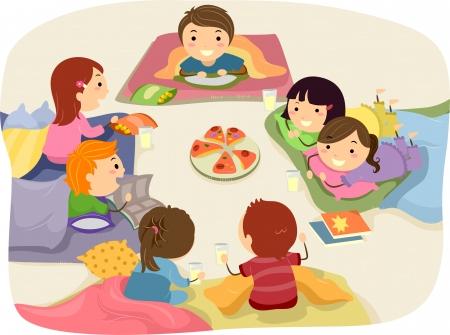 pijamada: Ilustración Stickman Con Niños Charla Mientras comía en un Sleepover Foto de archivo
