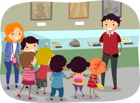 박물관 여행에 어린이를 갖춘 스틱맨 그림