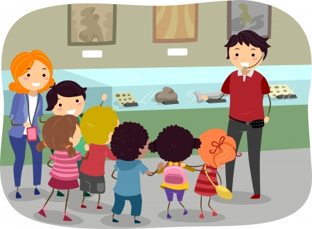 grade schooler: Stickman Illustration Featuring Kids on a Trip to the Museum Stock Photo
