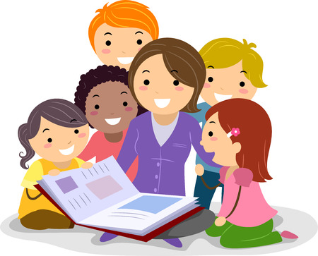 Stickman Illustration Featuring Kids Huddled Together While Listening to the Teacher Reading a Storybook Stock Photo
