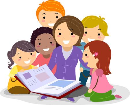 escuela caricatura: Stickman Ilustración con niños acurrucados mientras escucha el Profesor que lee un libro de cuentos