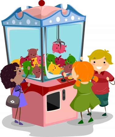 Stickman Illustration Featuring Kids Playing with a Claw Machine Stock Photo