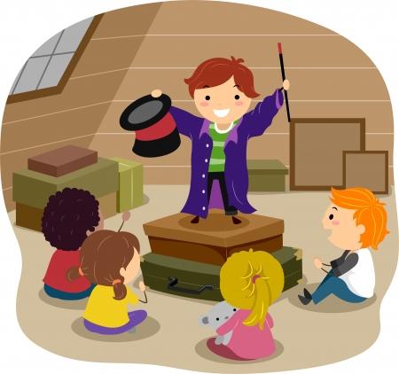 stickman: Stickman Illustration Featuring a Boy Performing Magic Tricks in an Attic Stock Photo