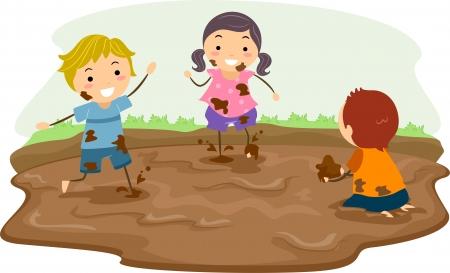 Ilustración Stickman Con niños jugando en el barro Foto de archivo