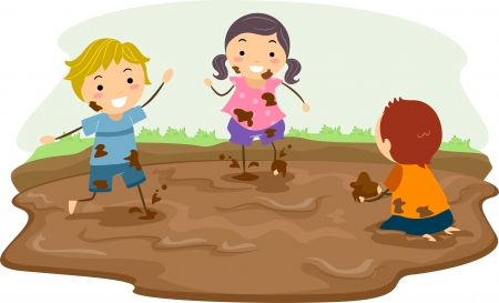dirty girl: Stickman Illustration Featuring Kids Playing in the Mud