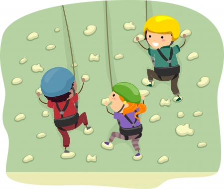 climbing gear: Stickman Illustration Featuring Kids Dressed in Climbing Gear Scaling a Wall Stock Photo