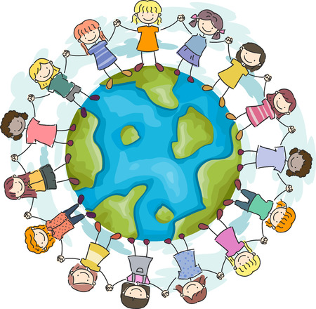encircling: Doodle Illustration Featuring Girls with Hands Linked Together Encircling a Globe