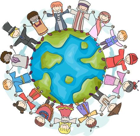 Ilustración de niños en todo el mundo