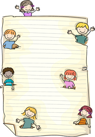 the sprouting: Doodle Illustration Featuring a Piece of Paper with Kids Sprouting in the Corners Stock Photo