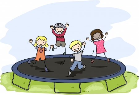 playtime: Doodle Illustration of Kids Playing with a Trampoline