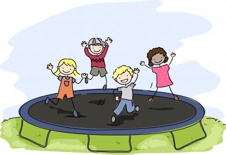 playmates: Doodle Ilustración de niños jugando con una cama elástica