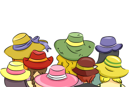 rear view girl: Illustration Featuring a Rear View of an Assortment of Womens Hats
