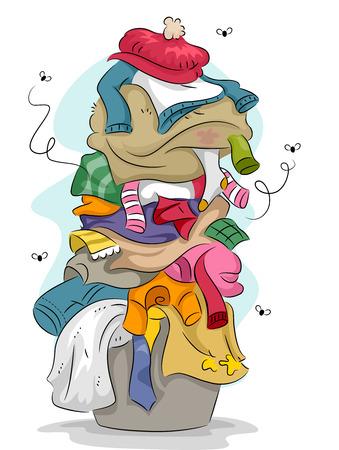 clothes washing: Ilustraci�n de una pila de ropa sucia y mal oliente con moscas volando alrededor