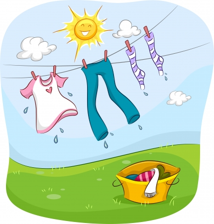 Illustration of the Sun Smiling Happily While Drying Up Clothes Hanging on a Clothesline Stock Photo