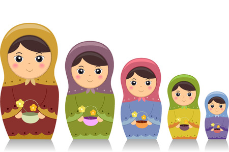 flower clip art: Illustration Featuring Matryoshka Dolls Carrying Baskets of Flowers
