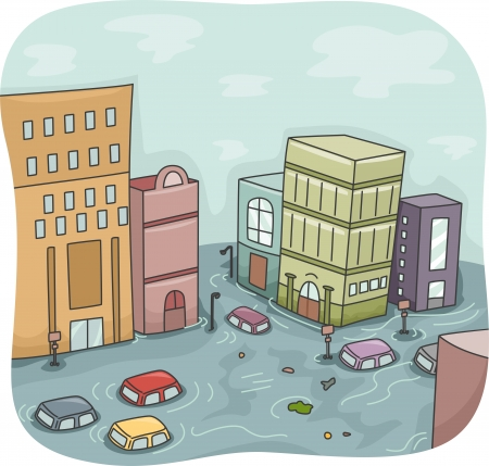 Illustration of a Flooded City with Cars Floating Around Stock Photo