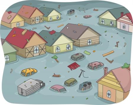 Illustratie van een overstroomde stad met deels verzonken Huizen en Voertuigen