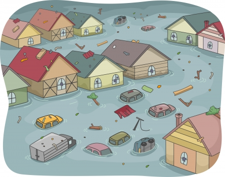 flood: Illustration of a Flooded City with Partially Submerged Houses and Vehicles