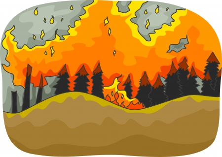 Illustration Featuring a Long Stretch of Trees Burning from the Distance Stock Photo