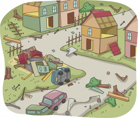 Illustration of Upturned Houses and Vehicles Depicting the Aftermath of a Disaster Stock Photo
