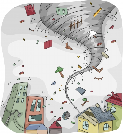 Illustration of a Huge Tornado Destroying the Houses and Buildings on its Path illustration
