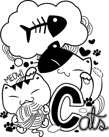 meow: Black and White Doodle Illustration Featuring Cute Cat Antics